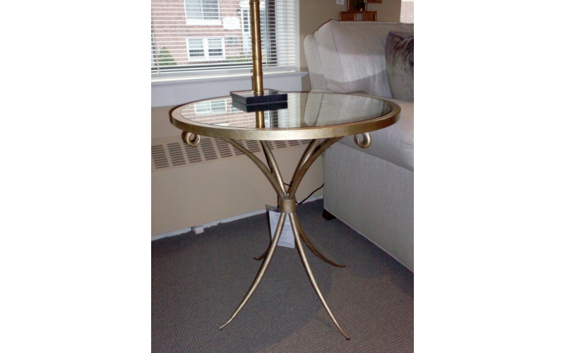 Metal U0026 Mirror Round End Table Gold Finish (antique Mirrored Glass Top)